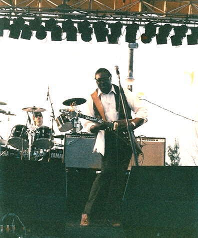 With the great Albert King at a crawfish festival in Ft. Meyers, FL, sometime in 1987. Photographer is unknown.