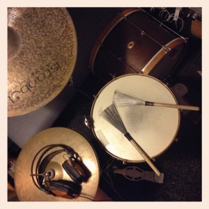 """Practice kit! 1930's 12"""" x 18"""" Ludwig & Ludwig field marching bass drum, 1920's 5.5"""" x 14"""" Ludwig Brass Beauty, 20"""" Istanbul Agop Crash/Ride and 14"""" Istanbul Agop (Pre-Split) hats. Love it."""