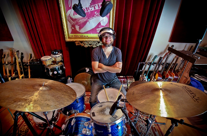 Wide angle lenses always make cymbals look funny, like pancakes! Photo courtesy of the amazing, James Saez.